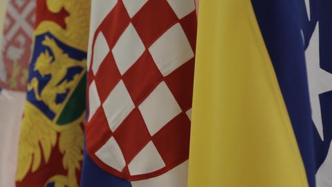 Flags of Bosnia, Croatia, Serbia and Montenegro Footage