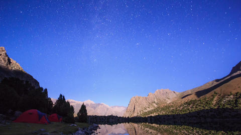 Mountains in the moonlight. Time Lapse. Pamir, Taj Footage