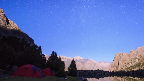 Moon illuminates the mountains. TimeLapse. Pamir,  Footage