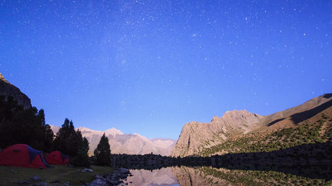 Milky Way in the mountains. Time Lapse. Pamir, Taj Footage