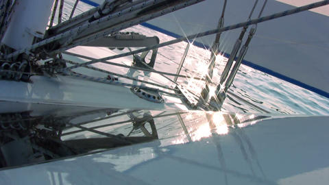 Yacht Rigging And Sun Glare stock footage