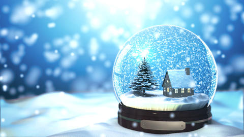 Christmas Snow globe Snowflake with Snowfall on Bl Animation