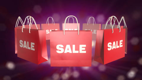 Red Shopping Bag sale on twinkle background Animation