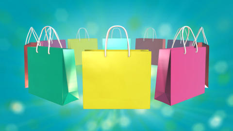 Colorful Shopping Bag on twinkle background Animation