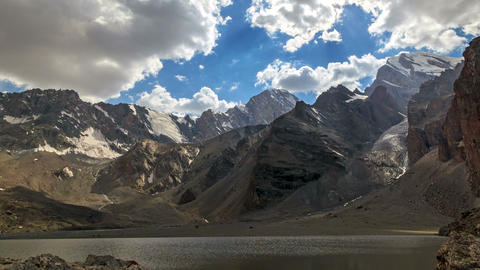 Lake in the mountains. TimeLapse. Pamir, Tajikista Footage