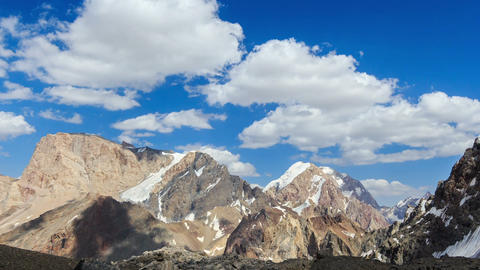 Clouds in the mountains. Time Lapse. Pamir, Tajiki Footage