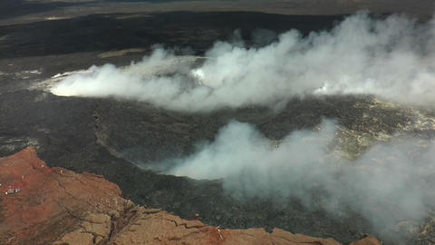 Flying over Kilauea volcano with helicopter Footage