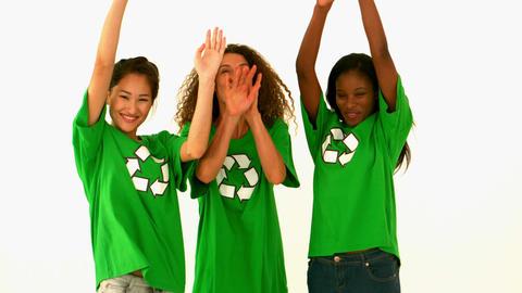 Happy Environmental Activist Cheering stock footage