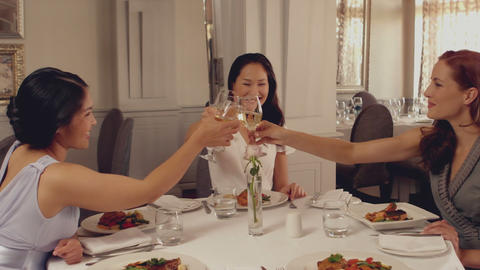 Women toasting with white wine at dinner Footage
