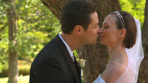 Newlyweds kissing in the park Footage