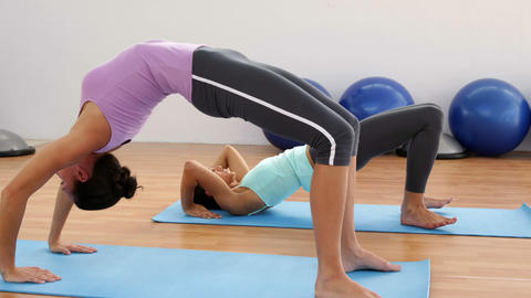 Fit Women Doing Yoga Together In Studio stock footage