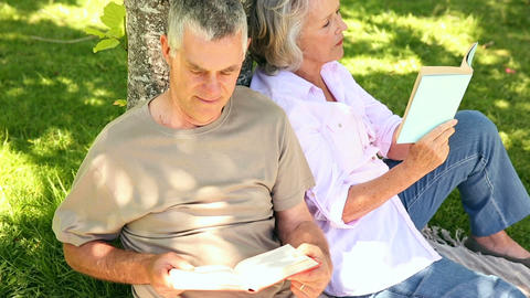 Retired couple leaning against tree reading Footage