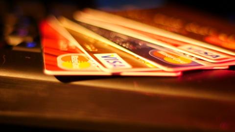 Footage Credit Cards on Keyboard Macro Stock Video Footage