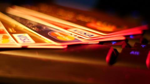 Footage Credit Cards on Keyboard Macro Footage