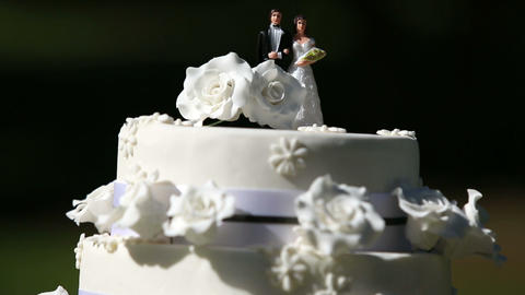 Wedding cake with cake toppers Footage