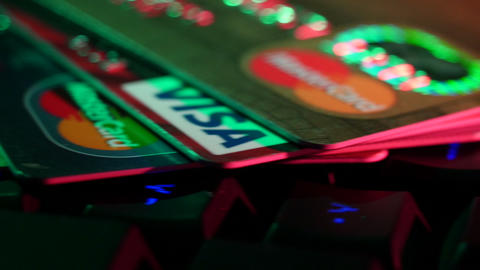 4K UHD Stock Footage Online Payments Credit Cards Live Action