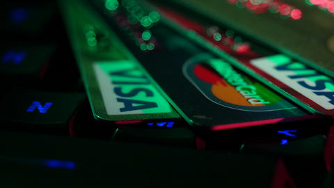 Stock Footage Online Payments Credit Cards Keyboar Live Action