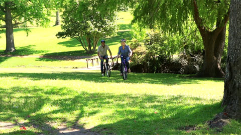 Happy couple going for a bike ride in the park Footage