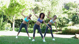 Fit friends stretching before their run Footage