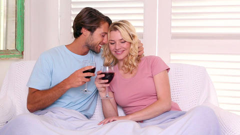 Couple sitting on sofa under blanket having red wine Live Action