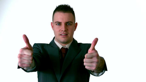 Businessman giving thumbs up to camera Footage