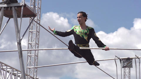 Tightrope Walker on the Rope Footage