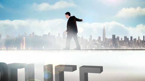 Businessman walking across tightrope with belief t Animation