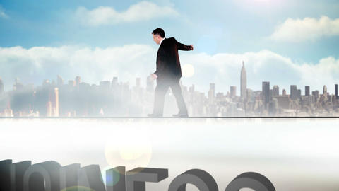 Businessman walking across tightrope with business Animation