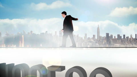 Businessman walking across tightrope with success  Animation
