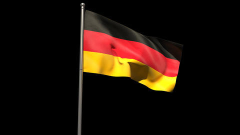 Germany national flag waving on flagpole Animation