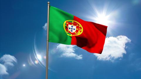 Portugal national flag waving on flagpole Animation