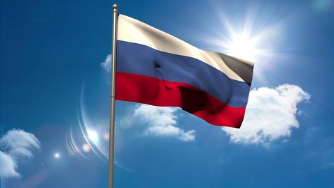 Russia national flag waving on flagpole Animation
