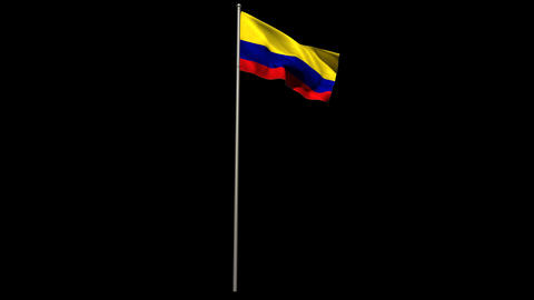 Colombia national flag waving on flagpole Animation