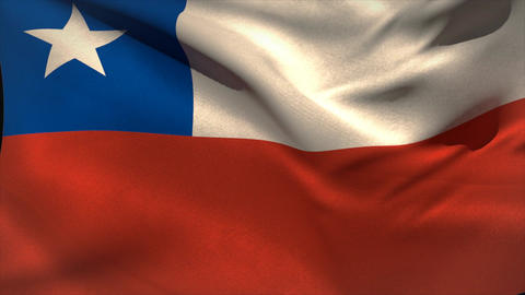 Digitally generated chile flag waving Animation