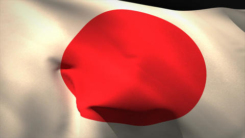 Digitally generated japan flag waving Animation