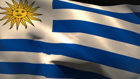Digitally generated uruguay flag waving Animation