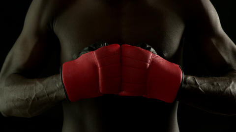 Tough boxer punching fists together with red gloves Footage