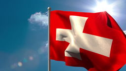 Swiss national flag waving on flagpole Animation
