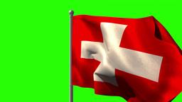Swiss national flag waving on flagpole Animation