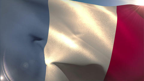 Large france national flag waving Animation