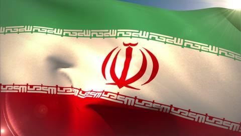 Large iran national flag waving Animation