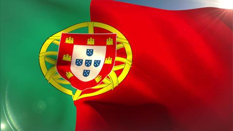 Large portugal national flag waving Animation