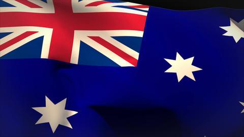 Large australia national flag waving Animation