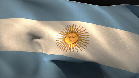 Large argentina national flag waving Animation