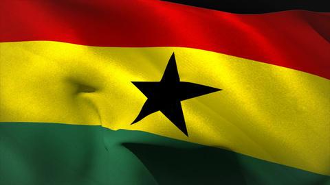 Large ghana national flag waving Animation