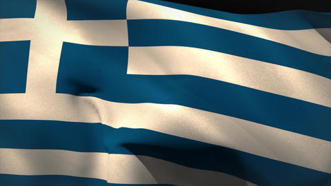 Large greece national flag waving Animation