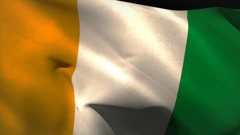 Large ivory coast national flag waving Animation