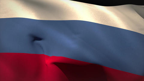 Large russia national flag waving Animation