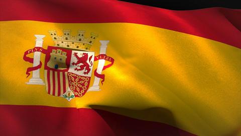 Large spain national flag waving Animation
