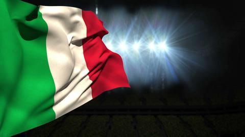 Large italy national flag waving Animation